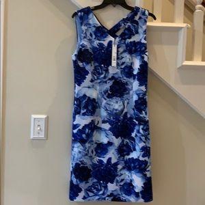 NEW Tahari floral blue dress summer crisscross 8